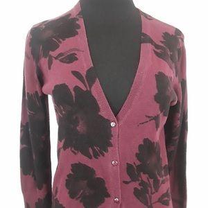 Loft Burgundy Black Floral Button Cardigan SZ XL